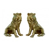 Löwen sitzend Blick recht und links Gold