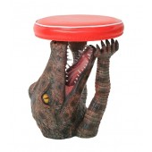 Krokodil Hocker mit rotem Polster