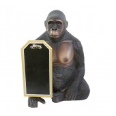 sitzender Gorilla mit Angebotstafel