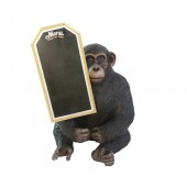 sitzender Affe mit Angebotstafel