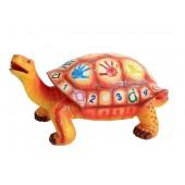 Bunte Schildkröte mit Alphabet und Ziffern zum Sitzen