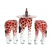 Tisch mit 2 Hockern Giraffe