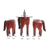 Tisch mit 2 Hockern Pferd