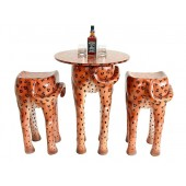 Tisch mit 2 Hockern Leopard