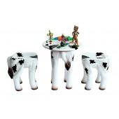 Tisch mit 2 Hockern Kuh für Kinder