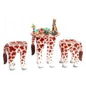 Tisch mit 2 Hockern Giraffe für Kinder