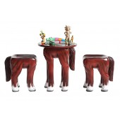 Tisch mit 2 Hockern Pferd für Kinder