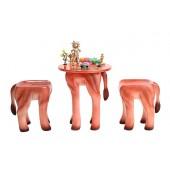 Tisch mit 2 Hockern Löwe für Kinder
