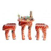 Tisch mit 2 Hockern Tiger für Kinder