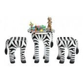 Tisch mit 2 Hockern Zebra für Kinder