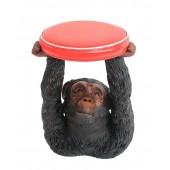Affe Hocker mit rotem Polster