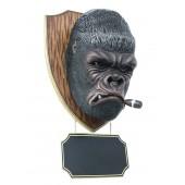 Gorillakopf mit Zigarre und Angebotsschild