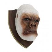 Weißer Gorillakopf auf Holz