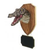 Alligatorkopf mit Angebotsschild