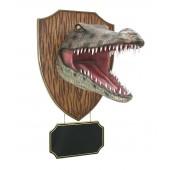 Krokodilkopf mit Angebotsschild