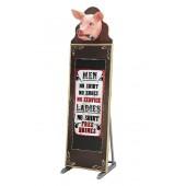 Schweinekopf mit Zigarre Angebotstafel