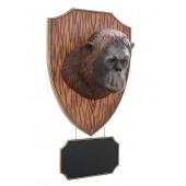 Orangutankopf mit Angebotsschild