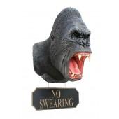 Gorillakopf mit *No Swearing*Schild