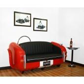 Sofa Cobra Rot mit schwarzem Polster