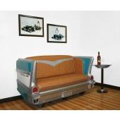 Sofa Chevy Hellblau mit braunem Polster