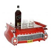 Tisch Daddy Car Rot mit Glasplatte