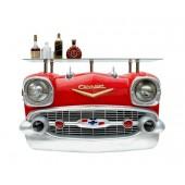 Wandkonsole Chevy Rot mit Glasplatte