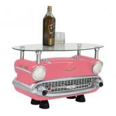 Couchtisch Chevy Rosa mit Glasplatte