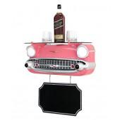 Wandregal Chevy Rosa mit Glasplatte und Angebotsschild
