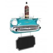 Wandregal Chevy Hellblau mit Glasplatte und Angebotsschild