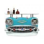Wandkonsole Chevy Blau mit Glasplatte
