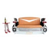 Sofa Cadillac Schwarz mit braunem Polster