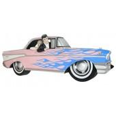 Wanddeko Chevy Rosa mit blauen Flammen und Elvis