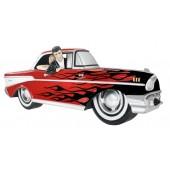Wanddeko Chevy Rot mit schwarzen Flammen und Elvis