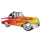Wanddeko Chevy Rot mit gelben Flammen und Elvis