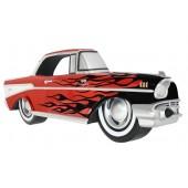 Wanddeko Chevy Rot mit schwarzen Flammen
