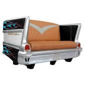 Sofa Chevy Schwarz mit blau roten Flammen