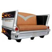 Sofa Chevy Schwarz mit orange blauen Flammen