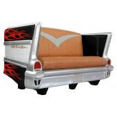 Sofa Chevy Schwarz mit roten Flammen