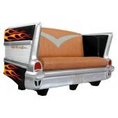 Sofa Chevy Schwarz mit gelb roten Flammen