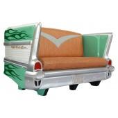 Sofa Chevy Grün mit dunkelgrünen Flammen