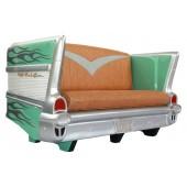 Sofa Chevy Grün mit silber Flammen
