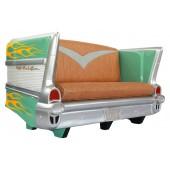 Sofa Chevy Grün mit gelben Flammen