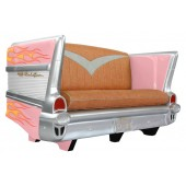 Sofa Chevy Rosa mit orange roten Flammen