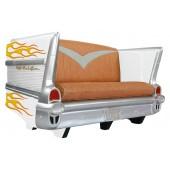 Sofa Chevy Weiß mit orangenen Flammen