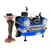 Schreibtisch Chevy Schwarz mit blauen Flammen