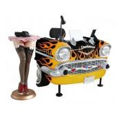 Schreibtisch Chevy Schwarz mit orangenen Flammen