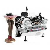 Schreibtisch Chevy Schwarz mit weißen Flammen