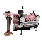 Schreibtisch Chevy Rosa mit schwarzen Flammen