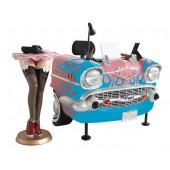 Schreibtisch Chevy Rosa mit hellblauen Flammen