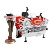 Schreibtisch Chevy Rot mit weißen Flammen
